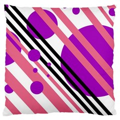 Purple Lines And Circles Large Cushion Case (one Side) by Valentinaart