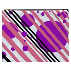 Purple Lines And Circles Cosmetic Bag (xxxl)  by Valentinaart