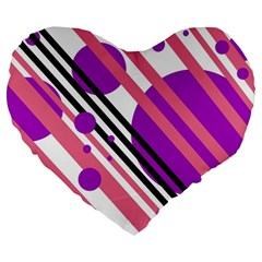 Purple Lines And Circles Large 19  Premium Flano Heart Shape Cushions by Valentinaart