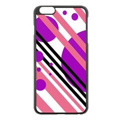 Purple Lines And Circles Apple Iphone 6 Plus/6s Plus Black Enamel Case by Valentinaart