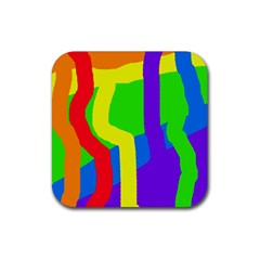 Rainbow Abstraction Rubber Coaster (square)  by Valentinaart