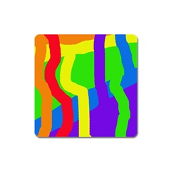 Rainbow Abstraction Square Magnet by Valentinaart