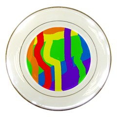 Rainbow Abstraction Porcelain Plates by Valentinaart