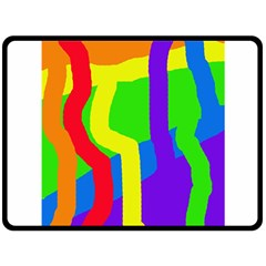 Rainbow Abstraction Double Sided Fleece Blanket (large)  by Valentinaart