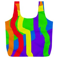 Rainbow Abstraction Full Print Recycle Bags (l)  by Valentinaart