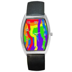 Rainbow Abstraction Barrel Style Metal Watch by Valentinaart