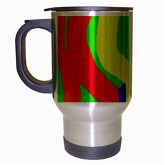 Rainbow Abstraction Travel Mug (silver Gray) by Valentinaart