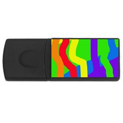 Rainbow Abstraction Usb Flash Drive Rectangular (4 Gb)  by Valentinaart