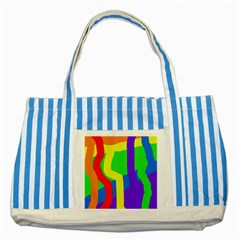 Rainbow Abstraction Striped Blue Tote Bag by Valentinaart