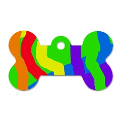 Rainbow Abstraction Dog Tag Bone (one Side) by Valentinaart