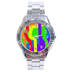 Rainbow Abstraction Stainless Steel Analogue Watch by Valentinaart