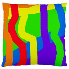 Rainbow Abstraction Large Cushion Case (one Side) by Valentinaart