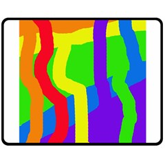 Rainbow Abstraction Double Sided Fleece Blanket (medium)  by Valentinaart