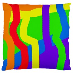 Rainbow Abstraction Large Flano Cushion Case (two Sides) by Valentinaart