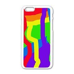 Rainbow Abstraction Apple Iphone 6/6s White Enamel Case by Valentinaart