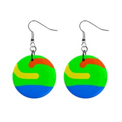 Rainbow Abstraction Mini Button Earrings