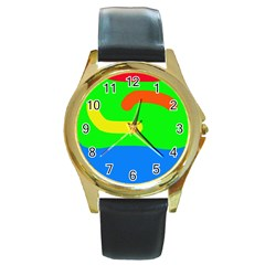 Rainbow Abstraction Round Gold Metal Watch by Valentinaart