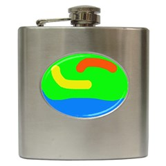 Rainbow Abstraction Hip Flask (6 Oz) by Valentinaart