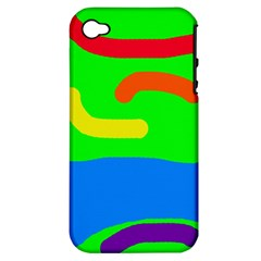 Rainbow Abstraction Apple Iphone 4/4s Hardshell Case (pc+silicone) by Valentinaart
