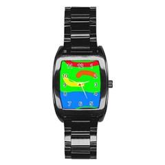Rainbow Abstraction Stainless Steel Barrel Watch by Valentinaart