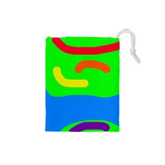 Rainbow Abstraction Drawstring Pouches (small)  by Valentinaart