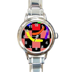 Multicolor Abstraction Round Italian Charm Watch by Valentinaart