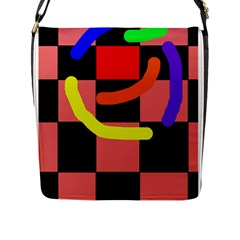 Multicolor Abstraction Flap Messenger Bag (l)  by Valentinaart