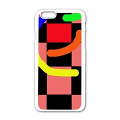 Multicolor Abstraction Apple Iphone 6/6s White Enamel Case by Valentinaart