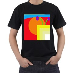 Colorful Abstraction Men s T-shirt (black) (two Sided) by Valentinaart
