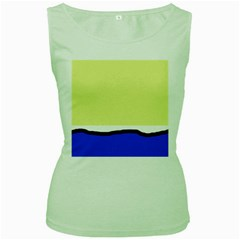 Yellow And Blue Simple Design Women s Green Tank Top by Valentinaart