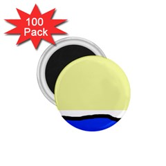 Yellow And Blue Simple Design 1 75  Magnets (100 Pack)  by Valentinaart