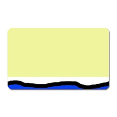 Yellow And Blue Simple Design Magnet (rectangular) by Valentinaart
