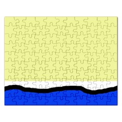 Yellow And Blue Simple Design Rectangular Jigsaw Puzzl by Valentinaart