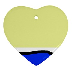 Yellow And Blue Simple Design Heart Ornament (2 Sides) by Valentinaart