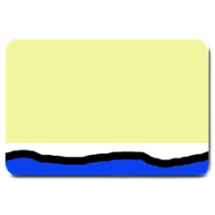Yellow And Blue Simple Design Large Doormat  by Valentinaart
