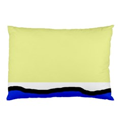 Yellow And Blue Simple Design Pillow Case by Valentinaart