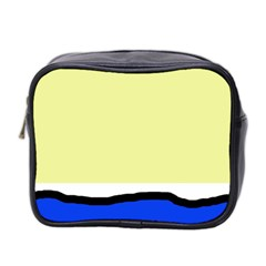 Yellow And Blue Simple Design Mini Toiletries Bag 2-side by Valentinaart
