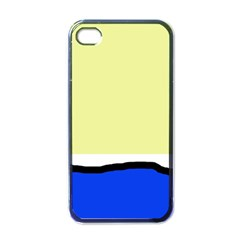 Yellow And Blue Simple Design Apple Iphone 4 Case (black) by Valentinaart