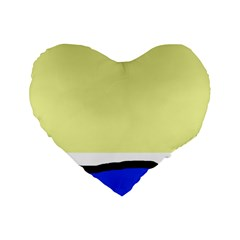 Yellow And Blue Simple Design Standard 16  Premium Heart Shape Cushions by Valentinaart