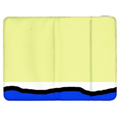 Yellow And Blue Simple Design Samsung Galaxy Tab 7  P1000 Flip Case by Valentinaart