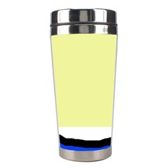 Yellow And Blue Simple Design Stainless Steel Travel Tumblers by Valentinaart