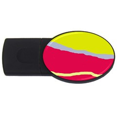 Red And Yellow Design Usb Flash Drive Oval (2 Gb)  by Valentinaart