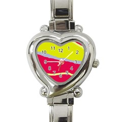 Red And Yellow Design Heart Italian Charm Watch by Valentinaart