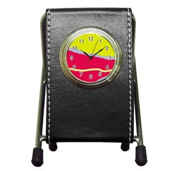 Red And Yellow Design Pen Holder Desk Clocks by Valentinaart