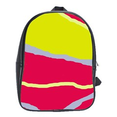 Red And Yellow Design School Bags (xl)  by Valentinaart