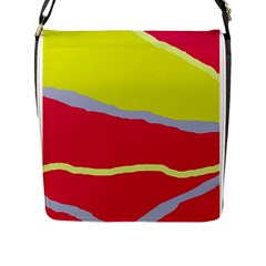 Red And Yellow Design Flap Messenger Bag (l)  by Valentinaart