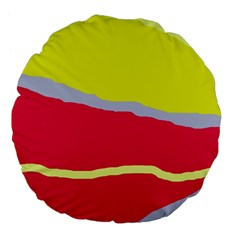 Red And Yellow Design Large 18  Premium Flano Round Cushions by Valentinaart