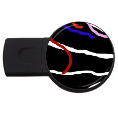 Decorative Lines Usb Flash Drive Round (4 Gb)  by Valentinaart