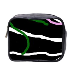 Decorative Lines Mini Toiletries Bag 2 Side by Valentinaart