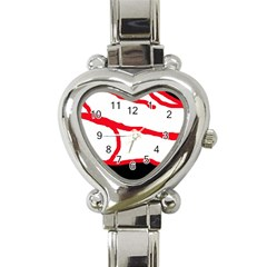 Red, Black And White Design Heart Italian Charm Watch by Valentinaart